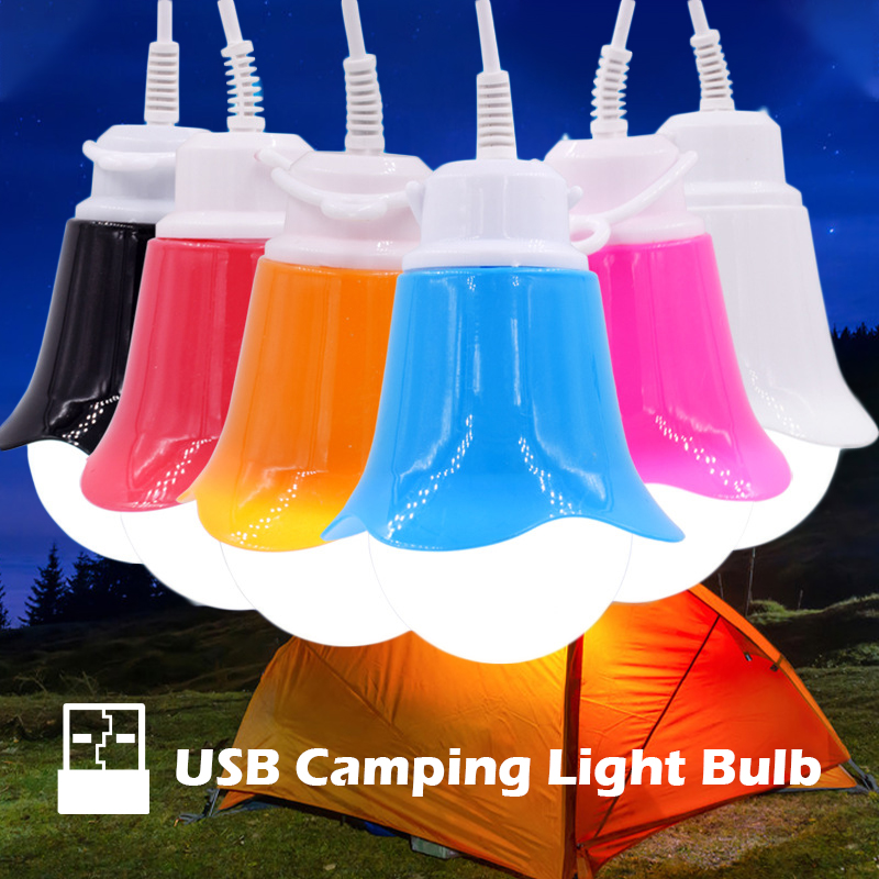 5V LED 5W USB Bulb Light Portable Camping Light Hanging Lanterns Lamp  For Hiking Tent Travel Work With Power Bank Notebook