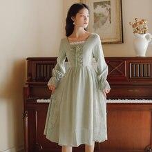 Женское шифоновое платье в стиле ретро длинное кружевное с квадратным