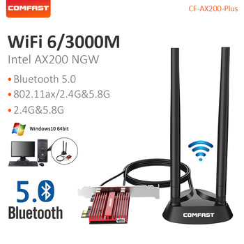 PCI-E Desktop 3000Mbps Wifi 6 high power network card for win10 Bluetooth 5.0 Dual Band Wireless Adapter comfast AX200 Plus dual band ac1900 broadcom bcm94360 wireless 802 11ac wifi adapter desktop wifi pci express card for mac osx pc hackintosh win10