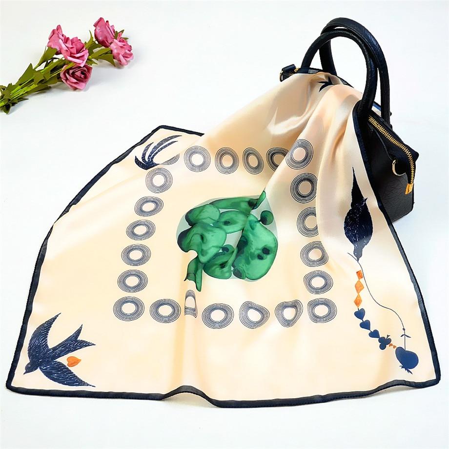 2020 Spring Design Swallow Brand 53cm Square Scarf Women Kerchief Fashion Neckerchief Turban Silk Scarf Winter Scarves For Lady