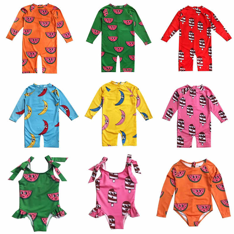 UPF 50 + أطفال ملابس السباحة هوغو يحب تيكي الصيف طفل مايوه بكيني دعوى طويلة الأكمام ملابس السباحة الفتيان الاستحمام قطعة واحدة ملابس السباحة
