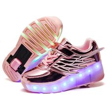 Children Kids Shoes Boys Girls Shoes Light Up heelys Two Wheels Luminous Sneakers USB Charging Led Light Roller Skate Shoes(China)