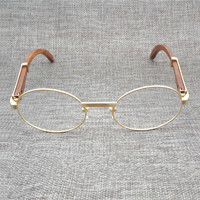 Vintage Black White Buffalo Horn Sunglasses Men Natural Wood Clear Glasses Stainless Frame Luxury Eyewear Round Eyeglasses