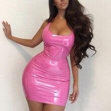 цена на 2020 Women summer dress Evening Party Dress Night Club Sleeveless Mini Dresses Bodycon Sexy Casual PU платье женское vestidos
