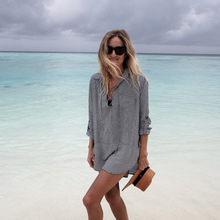Cotton Beach Cover up Striped Sexy Dress Saida de Praia Bikini cover Vestido Playa Sarong Swim Tunics