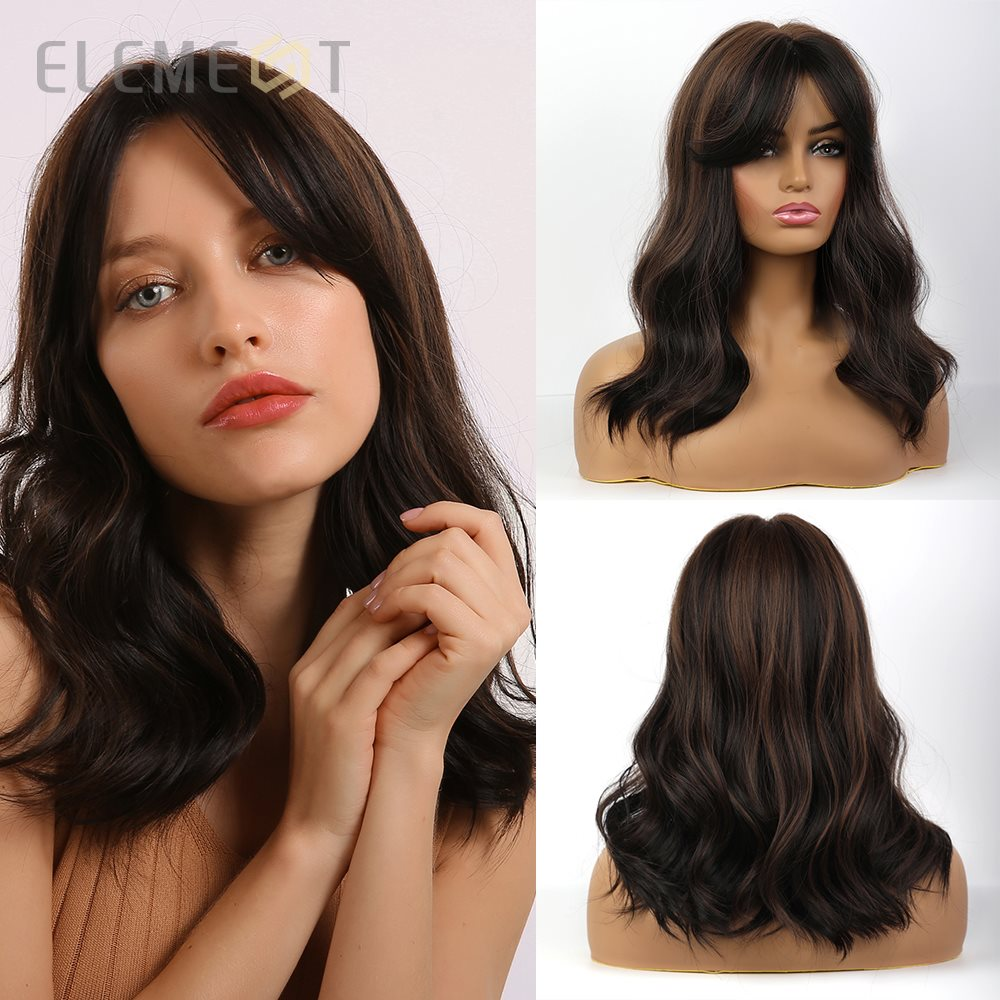 Element Heat Resistant Fiber Synthetic Long Natural Wave Mix Brown Wigs With Bangs For White/Black Women Daily Wear