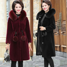Зимнее женское пальто из шерсти норки с капюшоном, женское утепленное пальто больших размеров, длинное теплое пальто из искусственного меха норки и кашемира
