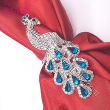 Рождественское высококачественное покрытое металлическим павлином кольцо для салфеток для свадьбы