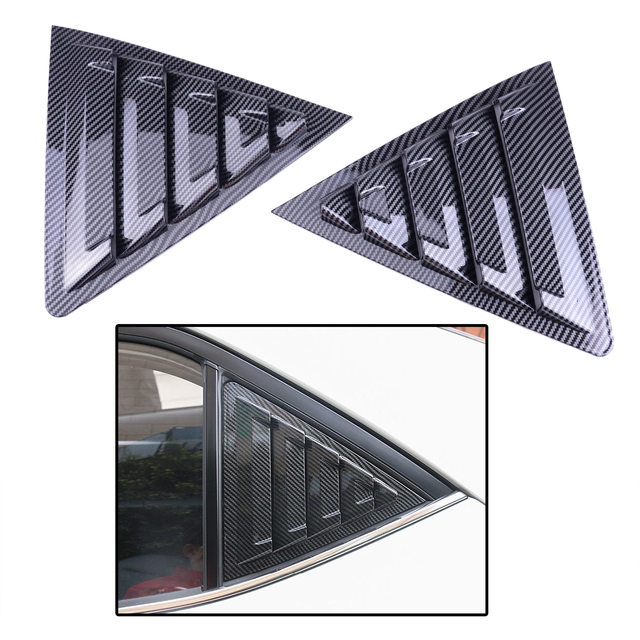 2Pcs Rear Side Window Scoop Louver Vent Trim Cover Car Carbon Fiber Style Black ABS Fit for Toyota Corolla 2014  2016 2017  2018