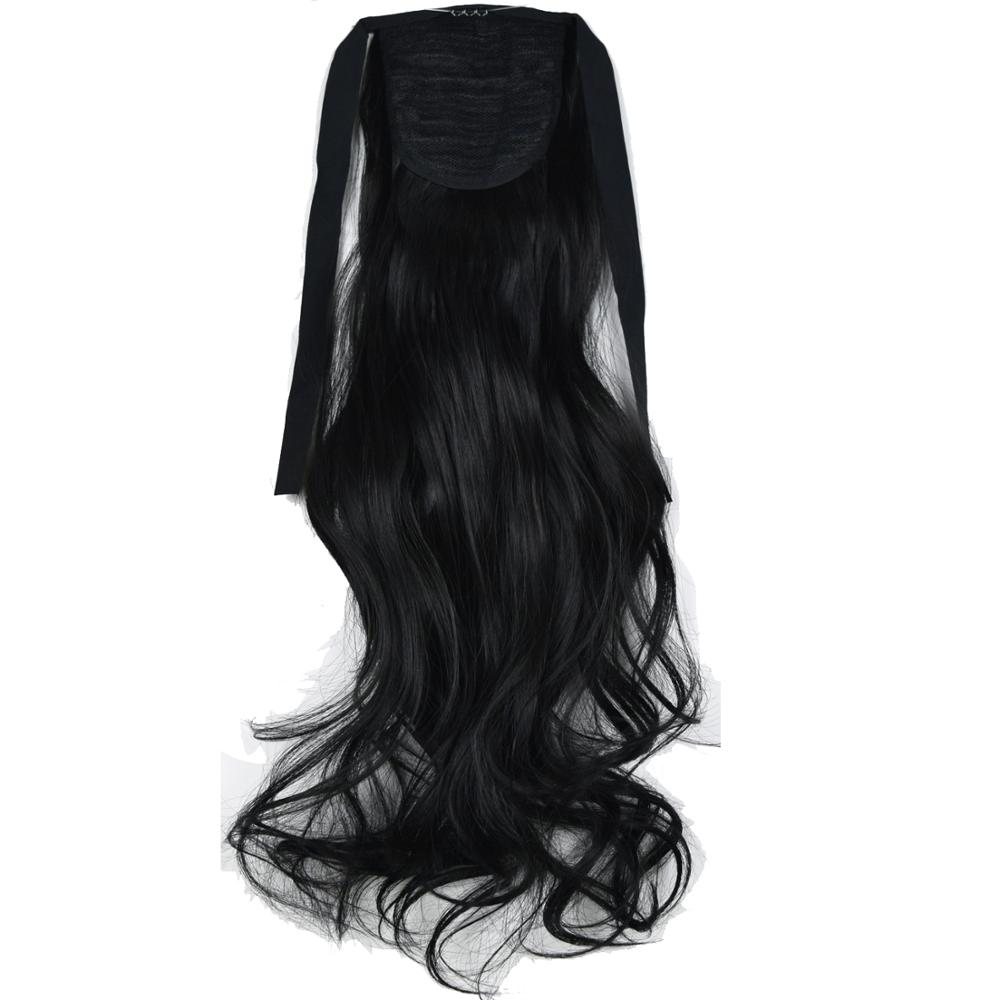 Heat Resistant Synthetic 90gr Wavy Clip In Ribbon Ponytail Extensions 1008