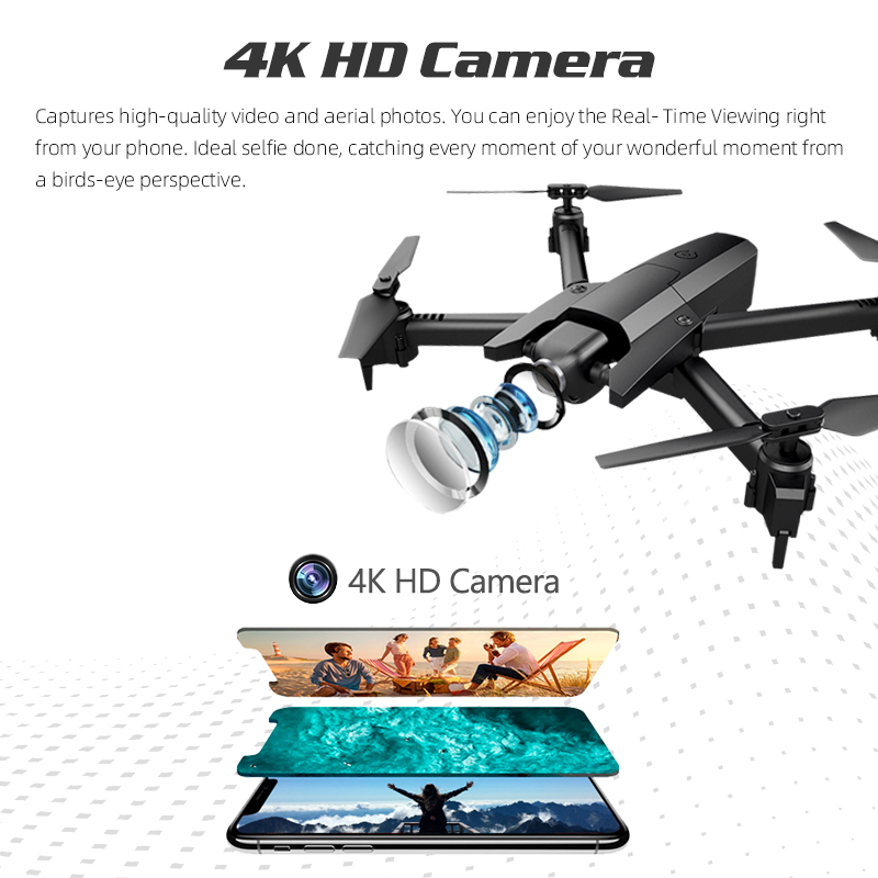 4K Drone Quadrocopter with Camera Altitude Hold RC Toys for Kids Helicopter Selfie Drones FPV Dron Gift for Adults Children