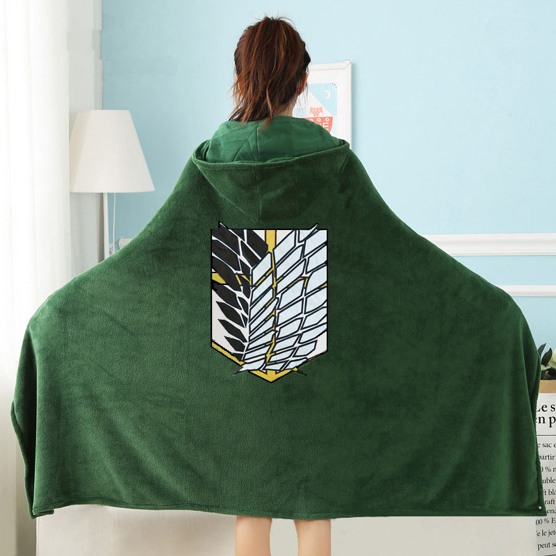Attack on Titan Wearable Throw Blanket with Hooded for Children and Adults Scout Regiment Plush Anime Thicken Blanket In Winter