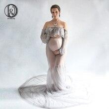 D&J 2019 Maternity Photography Props Maxi Pregnancy Chiffon Clothes Dress Fancy Shooting Photo Summer Pregnant