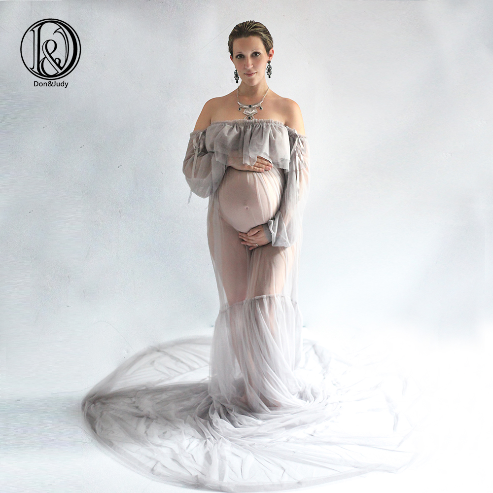 D&J 2019 Maternity Photography Props Maxi Pregnancy Gown Mesh Clothes Maternity Dress Fancy Shooting Photo Summer Pregnant Dress