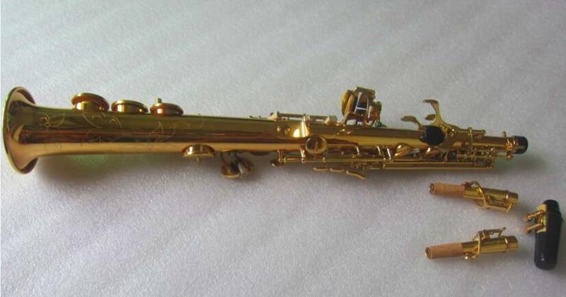 Brand Brass Straight Soprano Saxophone Bb B Flat Split body Woodwind Instrument Natural Shell Key Carve Pattern