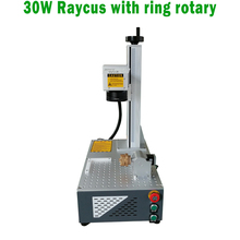 2019 hot selling 30w raycus fiber laser marking machine for metal and plastic materials with rotary
