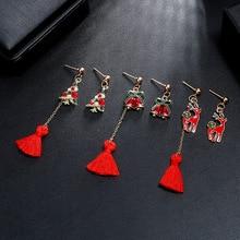 HelloMiss New asymmetric drop crystal tassel earrings cute elk bells Christmas tree stud earrings Christmas earrings jewelry christmas tree drop earrings