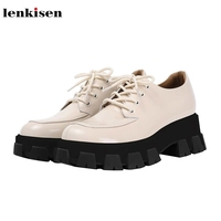 Lenkisen cow leather breathable round toe high heels thick bottom preppy style mixed colors lace up women vulcanized shoes L10