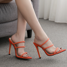 цена на 2 Colors Summer Pumps Sexy Gladiator Sandals Shoes High Quality Women Thin High Heels Open Toe Sandal Lady Ankle Strap Shoes