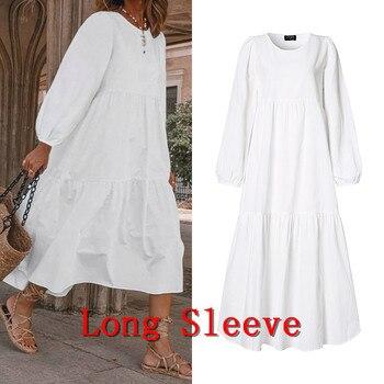 Летнее платье винтажное сексуальное платье до середины икры с рукавами-фонариками VONDA 2020 женский сарафан повседневное богемное пляжное платье размера плюс 4