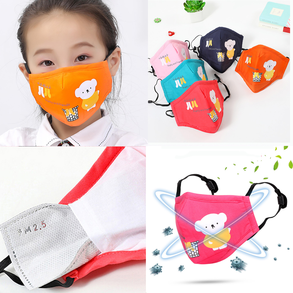 1Ps Cute Cartoon Printing Kid Mask PM2.5 Anti-Dust Face Mask Reusable Breathable Cotton Protective Children Mouth Mask