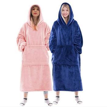 Women TV Blanket Sleeve Long Sweatshirt Hoodie Hooded Oversize Hoodie Ladies Pullover Fannel Sweat Plaid Warm Fleece Robe Femme 1