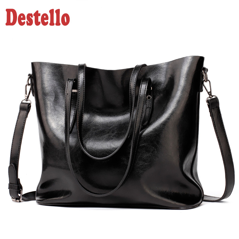 Large Handbags Totes Messenger-Bag Office Retro PU Female Soft High-Quality Casual Women title=