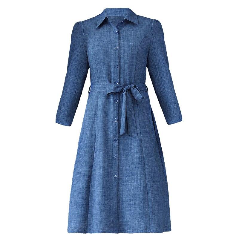 Printemps nouveau tempérament grande taille L-4XL robe vintage à manches longues genou-longueur robe bleu coton a-ligne robe femmes