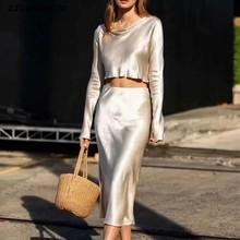 2020 Spring French Bright Satin Long Sleeve Shirt Sexy Women A line Long Skirt Crop Top