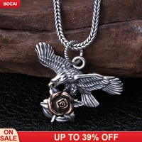 S925 pure silver rose and the camellia pendant jewelry popular fashion personality hang pendant with men and women
