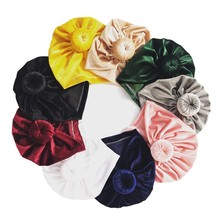 Baby Turban Hat Top Knot Bun Headwrap Newborn Shower Gift Bow classic knot turban Dount beanie Fashion Elastic H267D