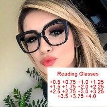 Vintage noir carré lunettes de lecture clair lentille verres de Prescription cadre dioptrie lunettes Points + 50 à + 400 Oculos Feminino