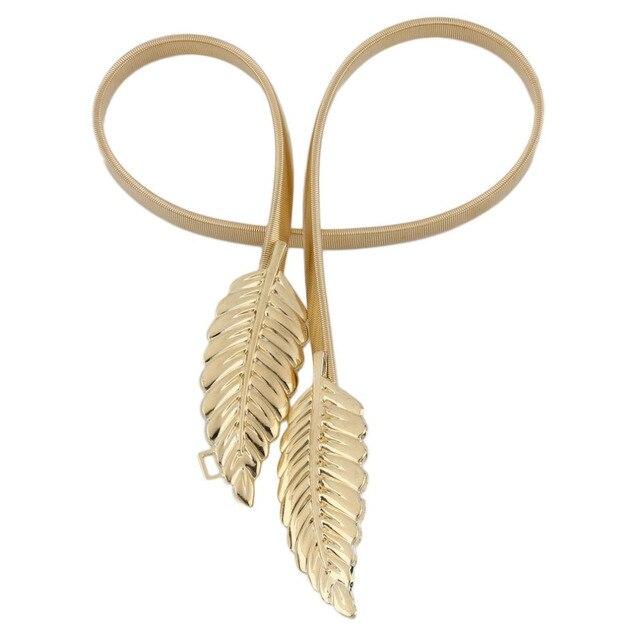 Kobiety liść projekt pas metalowe liście Cummerbund zapięcie przód Stretch pas złoty srebrny elastyczny pasek łańcuch liści pas