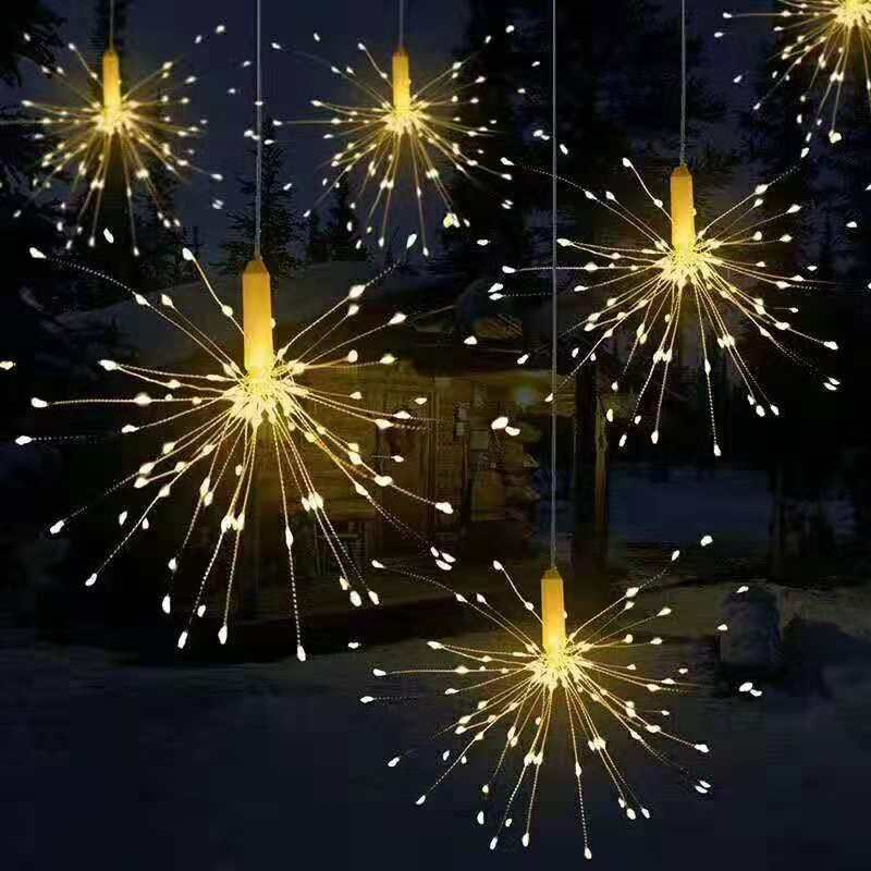 LED Firework Lamp Twinkle Fairy Garland Garden Outdoor Waterproof Copper Wire Christmas Lights String Party Holiday Decoration