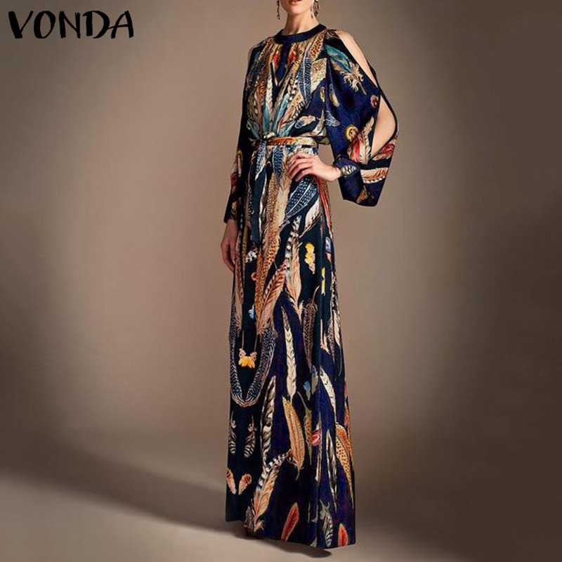 Women's Off Shoulder Sundress Vintage Floral Print Party Long Dress VONDA Elegant Ladies Office Dress Plus Size Vestidos 5XL