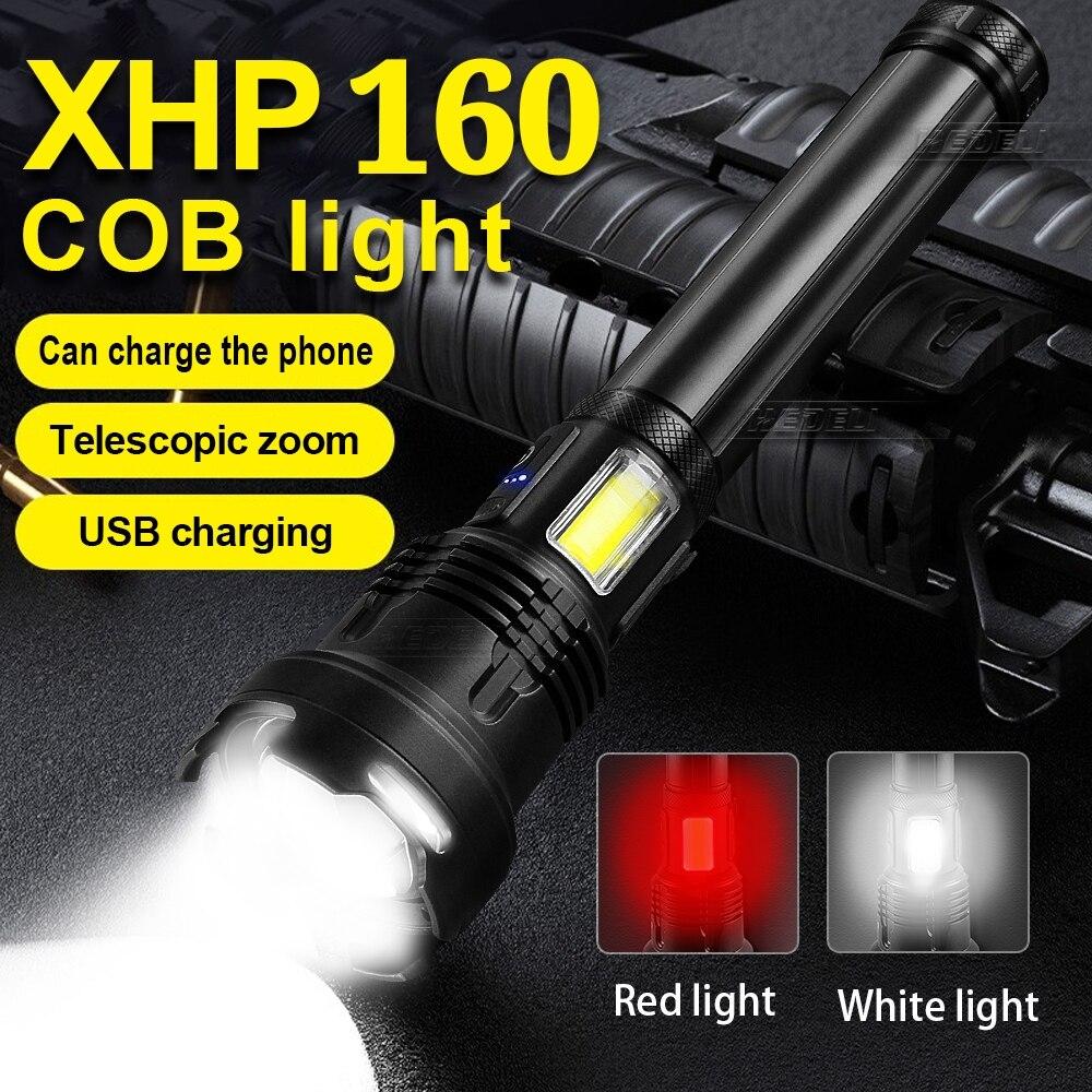 Super XHP160 Led o dużej mocy latarka akumulatorowa latarka taktyczna 18650 XHP90 pamięć USB lekka latarka led oświetlenie na polowanie