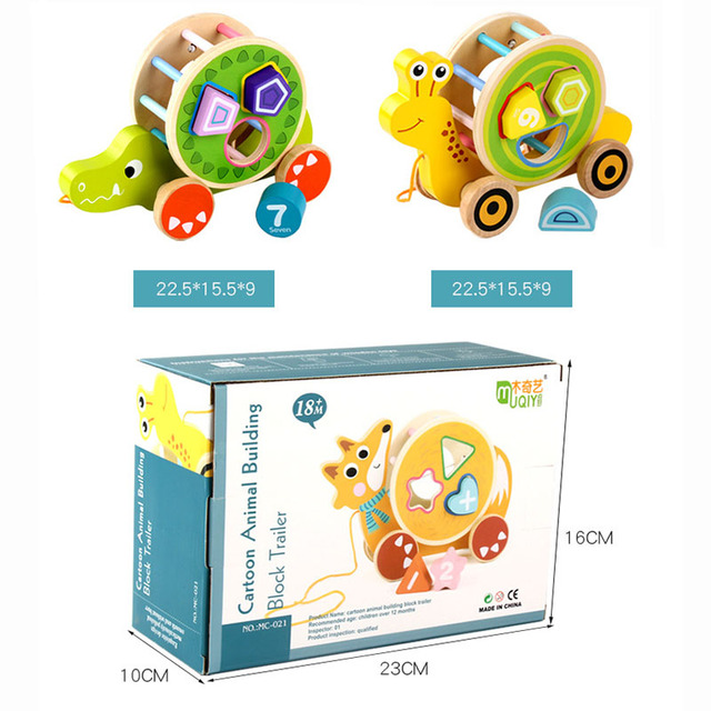 Baby Fun Learning Cartoon Animal Trailer Wood Toy Shape Matching Cognitive Wooden Building Blocks Educational Toys for Children