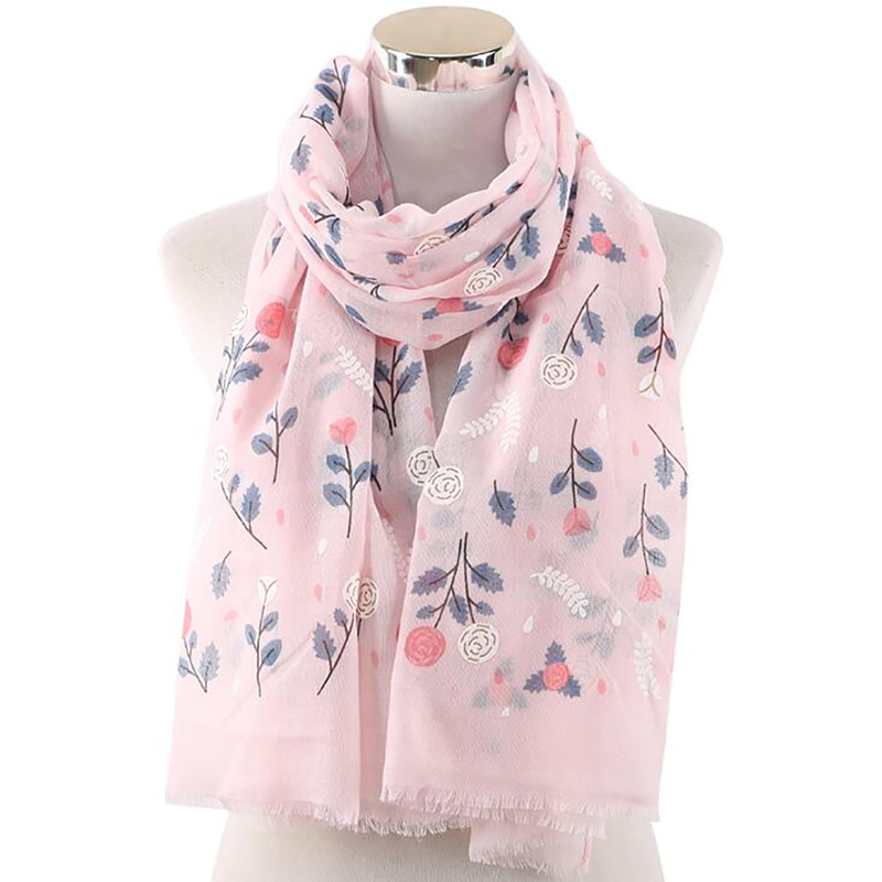 SHAWL,SHOULDER WRAP WITH TASSLES WOMEN LONG WHITE ROSE FLOWER PRINT SCARF