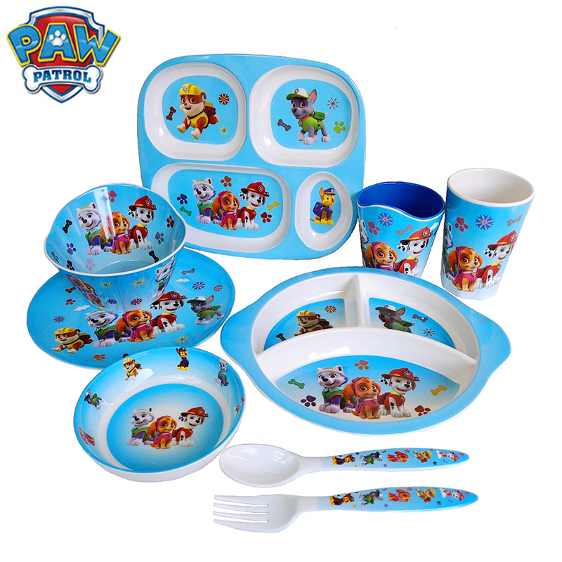 Original Paw Patrol Tableware Bowl Dish Plate Cartoon Movies Figure Kindergarten Dog Patrol Pow Tableware Toys Sets For Kids