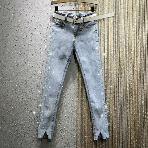 Jeans 2020 Spring New High-Waist Side Rhinestone Slim-Fit Tight Stretch Slimming Denim Pencil Ankle-Length Pants Women's Jeans -
