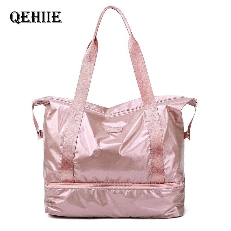 Sacs de sport de voyage sac de sport en Nylon rose sac de Yoga de séparation humide sec sacs à main multifonctions sac de nuit d'épaule de grande capacité