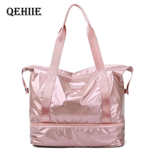 Travel Duffle Bags PINK Nylon Gym Bag Dry Wet Separation Yoga Bag Multifunction Handbags Large Capacity Shoulder Overnight Bag