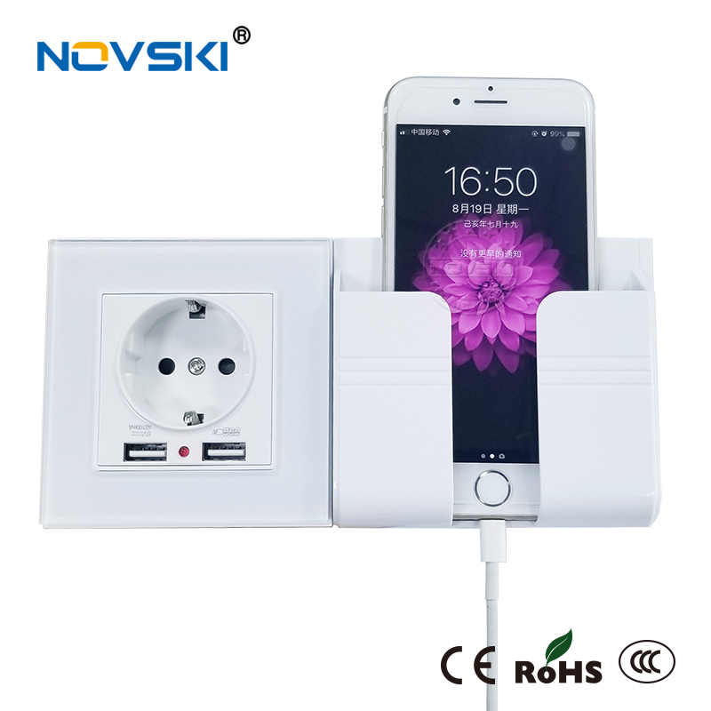 NOVSKI розетекusb 벽 소켓 휴대 전화 홀더 스마트 폰 USB 충전 스탠드 랙 홀더 Android iOS Phone 11 Holding Box
