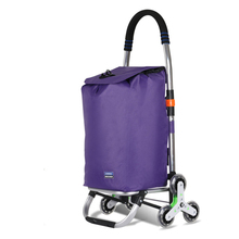 Trolley with Stainless Aluminum Frame Removable-Bag Dolly Climbing-Wheels Folding Grocery-Laundry