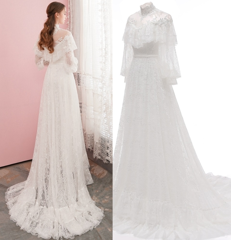 Victorian Lace Vintage Bridal Gown Evening Dress Long Sleeve Good Quality Real Photo Factory Price