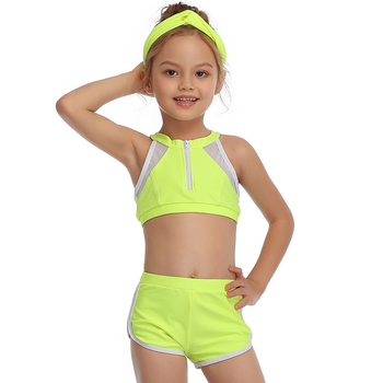 2-14 Years Toddler and Teen Girls Athletic Swimsuits High Neck Front Zipper Sports Crop Top With Boyshorts Kids Bathing Suit
