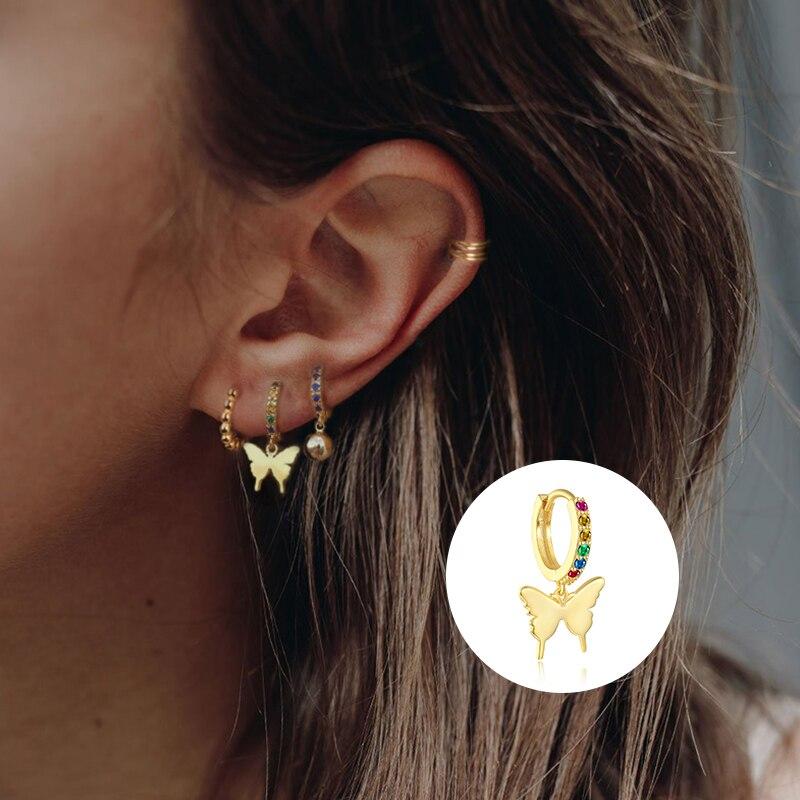 1 pcs 925 sterling silver Rainbow Small Hoop Earrings for Women Personality Animal Snake/Honeybee/Butterfly Gold Silver Earrings
