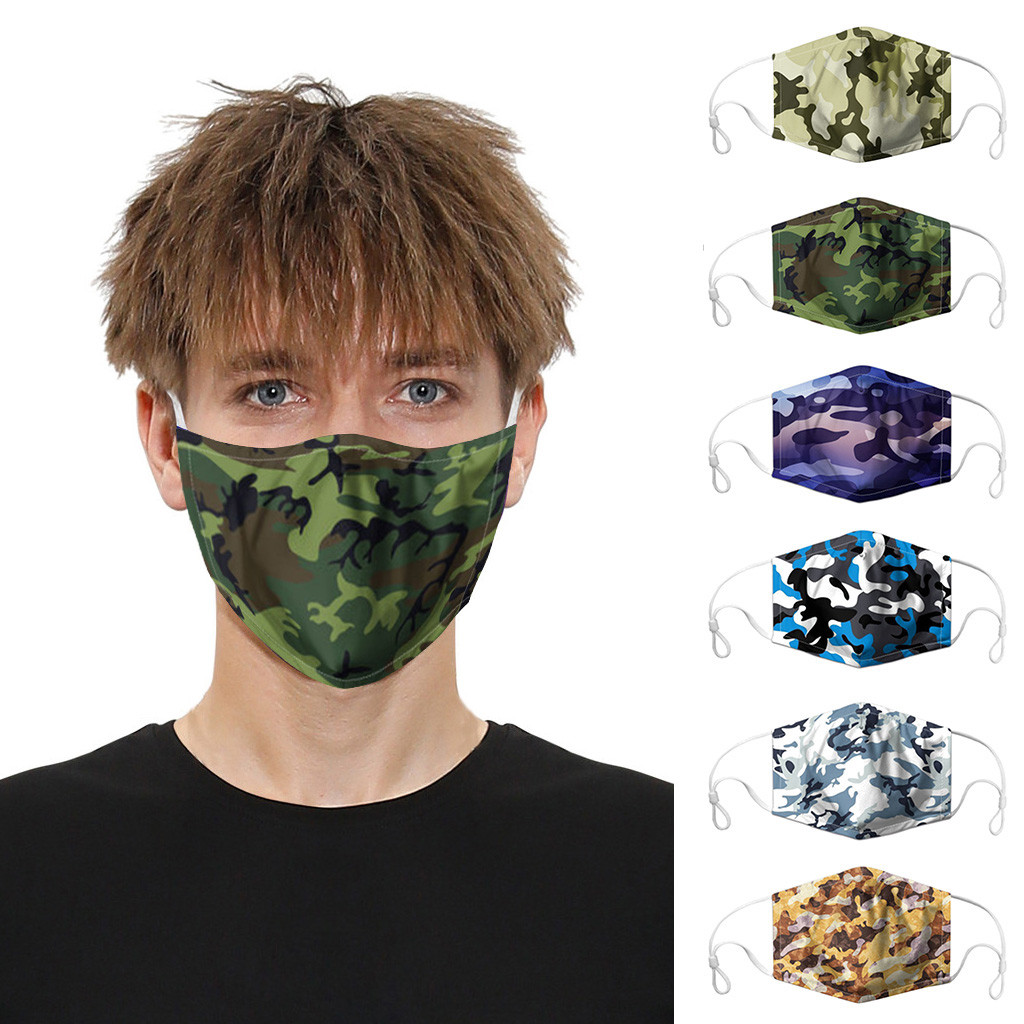 Fashion Classic Camouflage Mouth Face Mask For Adult Men Women Print Mask Washable PM2.5 Protective Dust Face Mask Reusable