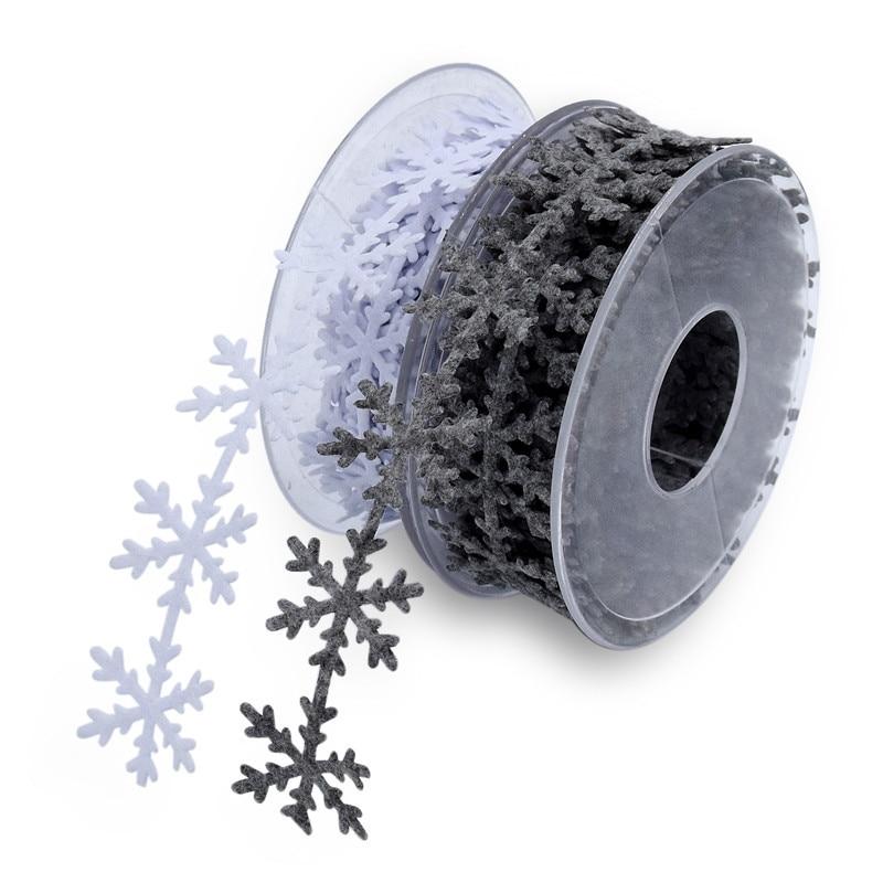 Sewing Craft felt Lace Trim Embellishment White snowflake Green Leaves Ribbon DI