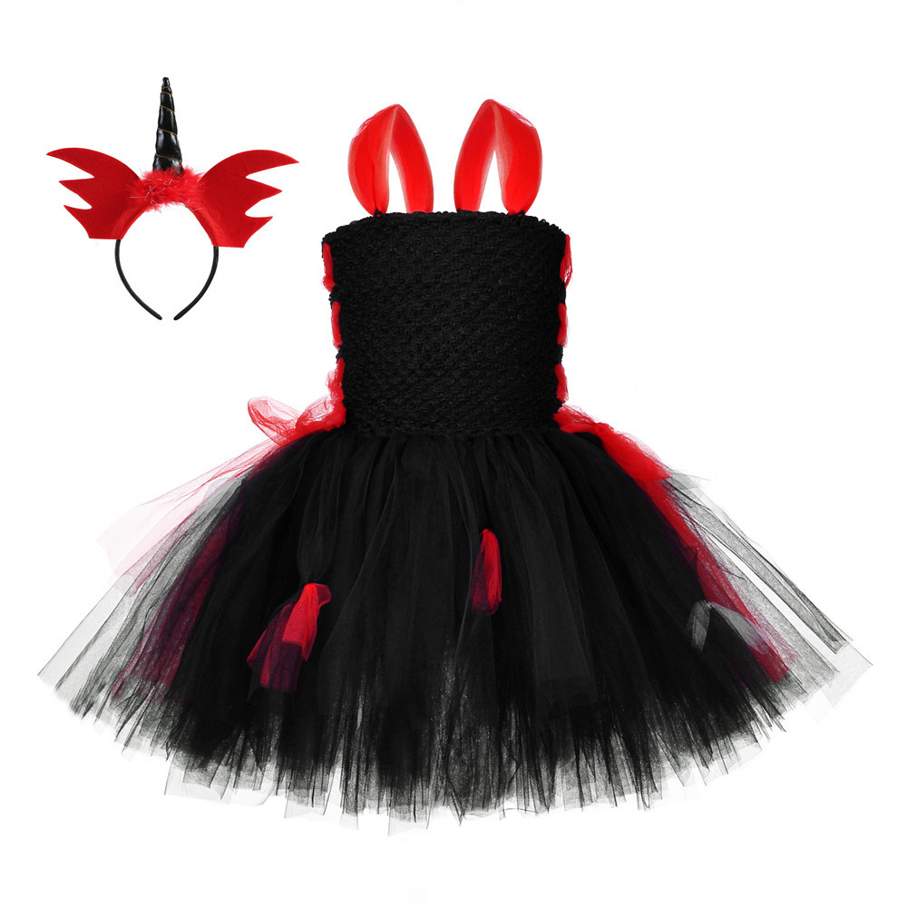 New Girls Vampire Costumes Fantasy Party Tutu Dress Costume Halloween Carnival Party Dress Red Headwear Black Kids Tulle Dresses